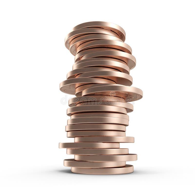 Pilhas de moedas de um centavo velhas isoladas em um branco 3D ilustração, trajeto de grampeamento ilustração do vetor