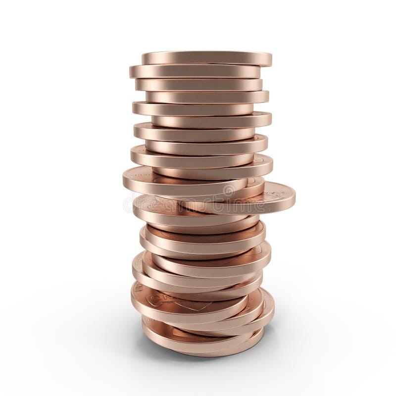 Pilhas de moedas de um centavo velhas isoladas em um branco 3D ilustração, trajeto de grampeamento ilustração royalty free