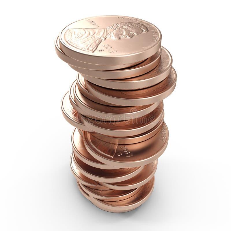 Pilhas de moedas de um centavo velhas isoladas em um branco 3D ilustração, trajeto de grampeamento ilustração stock