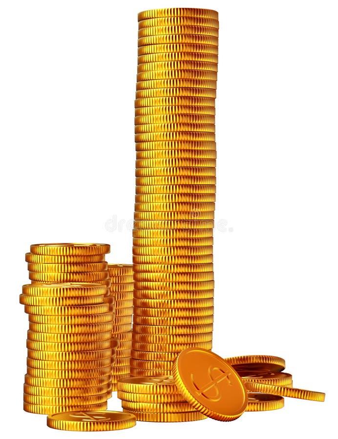 Pilhas de moedas do dólar do ouro ilustração stock