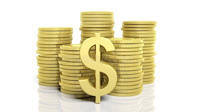 Pilhas de moedas douradas e de um símbolo do dólar ilustração stock
