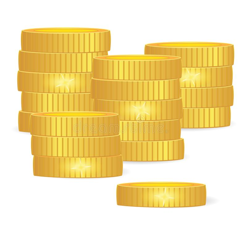 Pilhas de moedas de ouro brilhantes ilustração royalty free