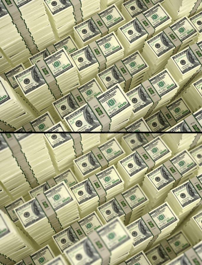 Pilhas de 100 notas de dólar - com e sem o efeito do DOF ilustração royalty free