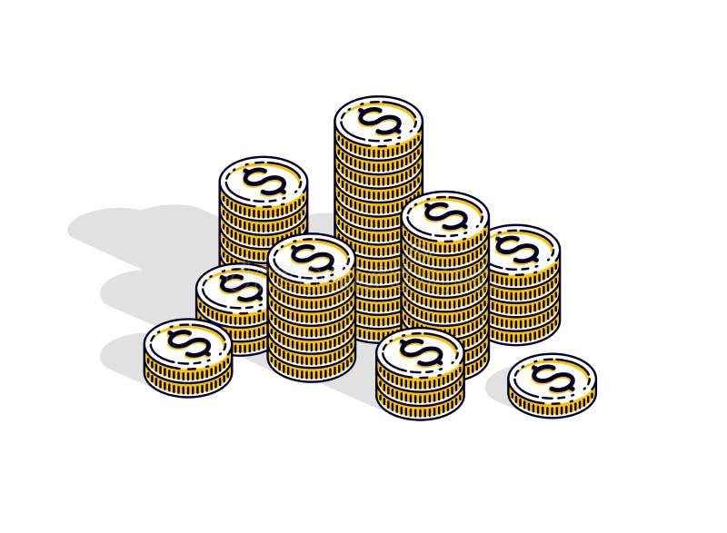 Pilhas do centavo da moeda do dinheiro do dinheiro isoladas no fundo branco Vetor ilustração stock