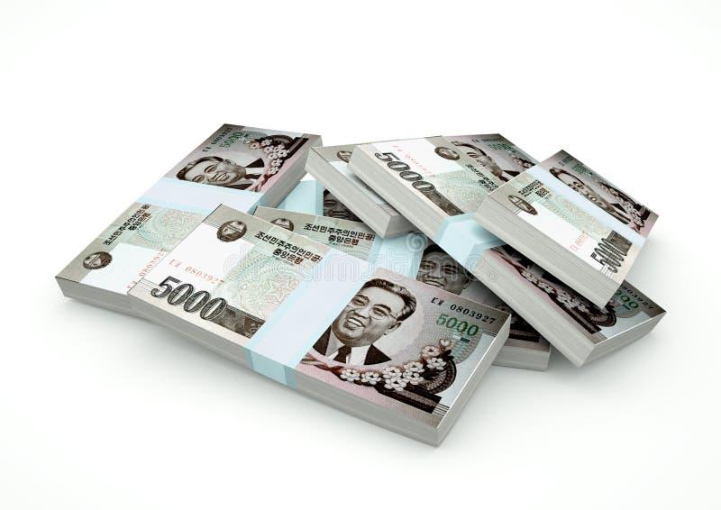 Pilhas do dinheiro da Coreia do Norte isoladas no fundo branco ilustração do vetor