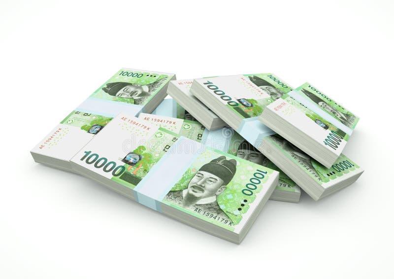 Pilhas do dinheiro de Coreia do Sul isolado no fundo branco ilustração royalty free