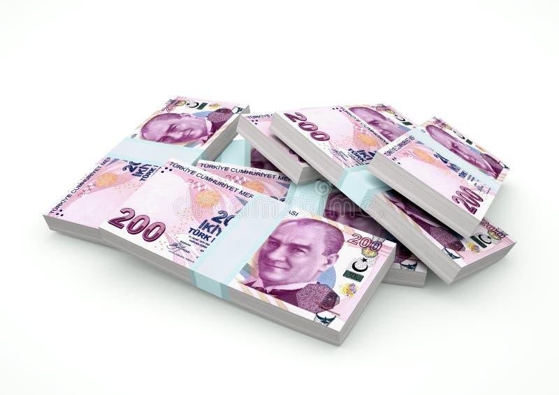 Pilhas do dinheiro de Turquia isoladas no fundo branco ilustração do vetor