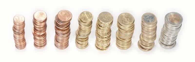 Pilhas do dinheiro (euro 2 a 1 centavo) imagem de stock royalty free