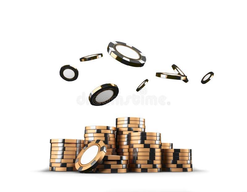 Pilhas douradas das microplaquetas de pôquer do casino isoladas no fundo branco Conceito do jogo rendição 3d ilustração royalty free
