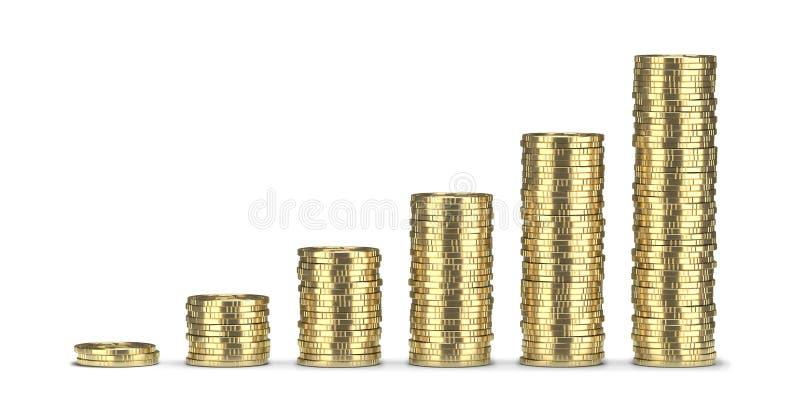 Pilhas douradas das moedas 3D rendem, isolado no fundo branco imagens de stock royalty free