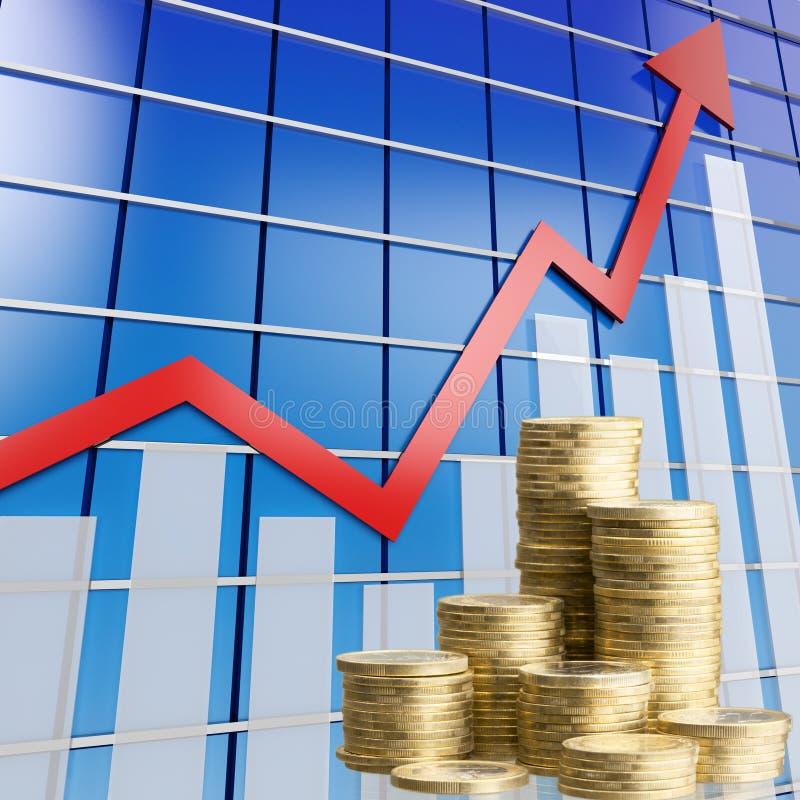 Pilhas douradas das moedas no fundo do gráfico imagem de stock