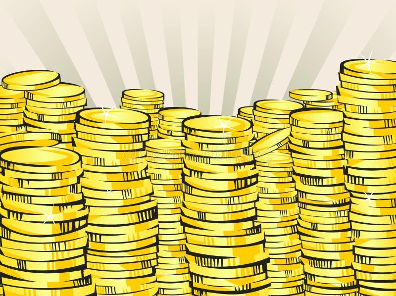 Pilhas douradas do dinheiro Moedas de ouro Ilustração retro da riqueza de brilho Vencimento da loteria ou conceito do sucesso com ilustração royalty free