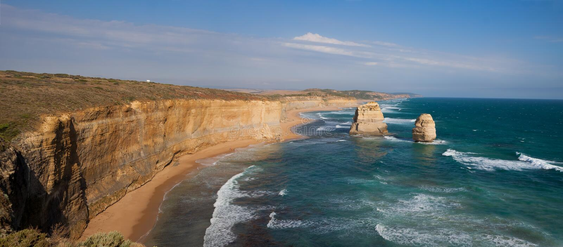 Pilhas gigantes, Gog e Magog da pedra calcária Gibson Steps, grande estrada do oceano, Victoria, Austrália fotos de stock