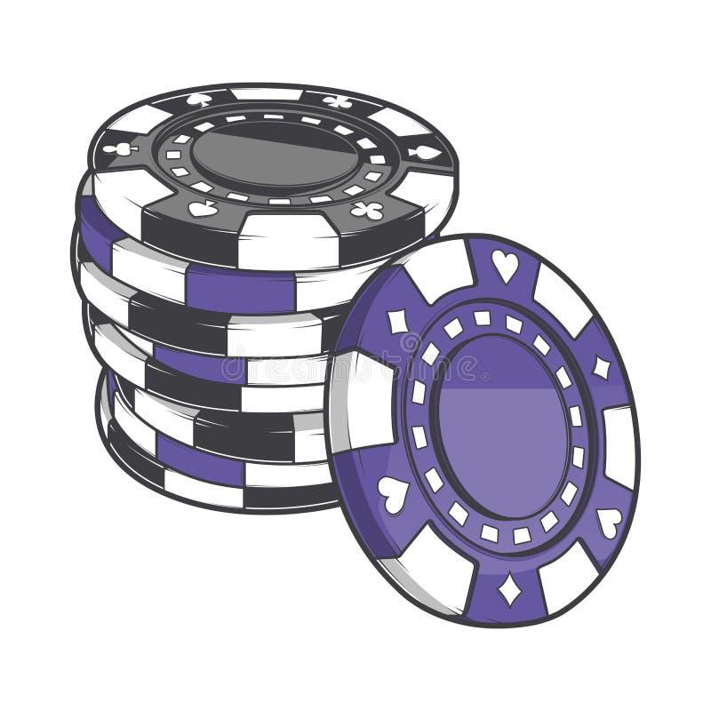 Pilhas pretas e violetas de microplaquetas de jogo, símbolos do casino isolados em um fundo branco Linha arte da cor Projeto retr ilustração royalty free