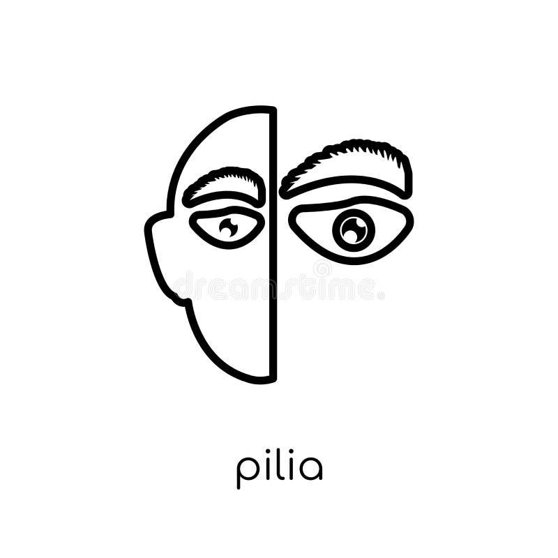 Piliapictogram In modern vlak lineair vectorpilia-pictogram op wit stock illustratie