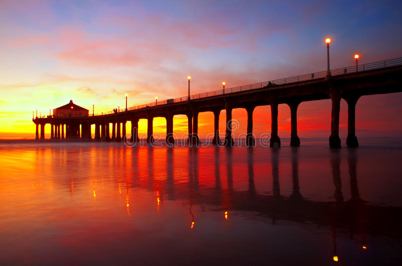 Pilier de Manhattan Beach photographie stock