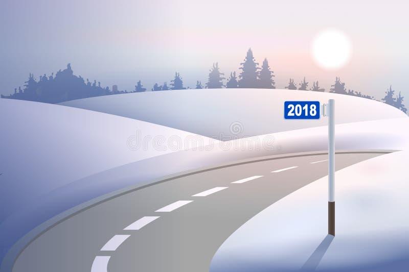 Pilier 2018 de mille de kilomètre sur la route d'hiver Nouvelle année de concept illustration libre de droits