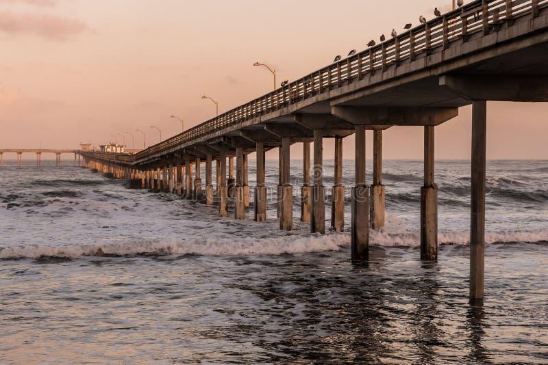 Pilier de pêche de plage d'océan à San Diego, la Californie photo libre de droits