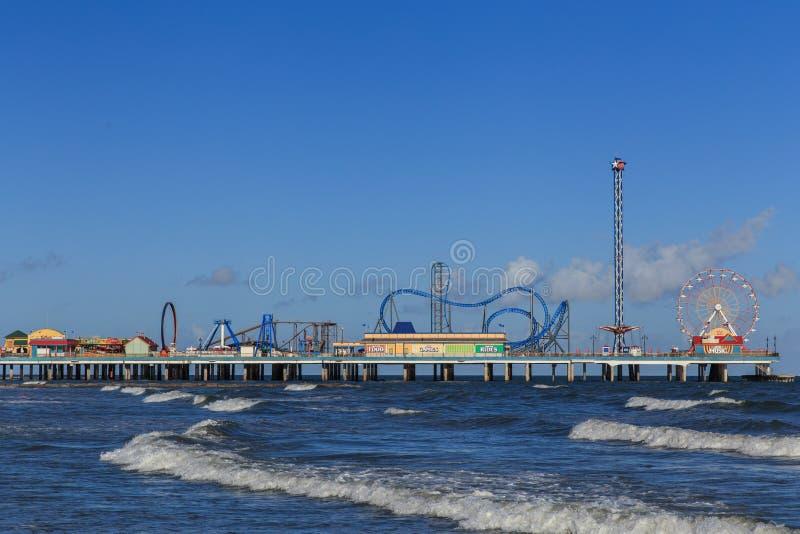 Pilier de plaisir d'île de Galveston images libres de droits