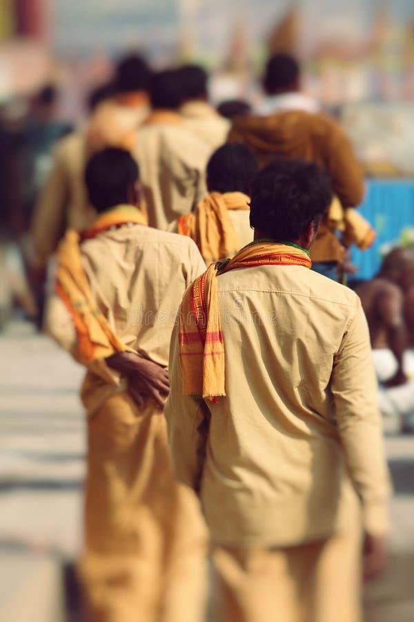 Piligrims in Varanasi, India. stock photos