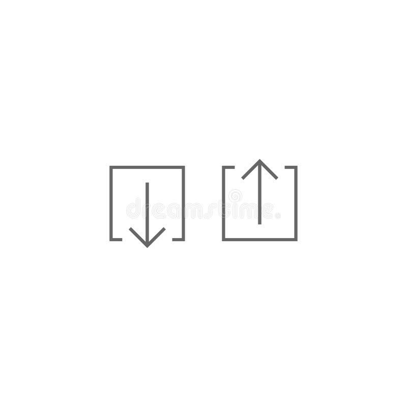 Pilknappuppsättning Tunn pil upp och ner i fyrkantig ask plana symboler som isoleras på vit punktlinje knapp stock illustrationer