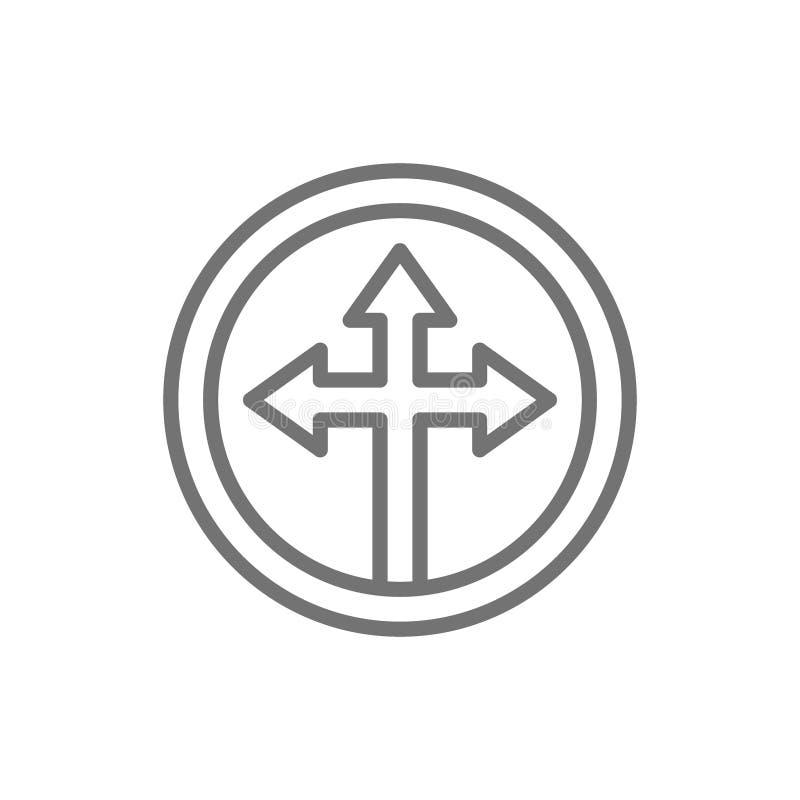 Pilkors, trevägs olik riktningspilsymbollinje symbol royaltyfri illustrationer
