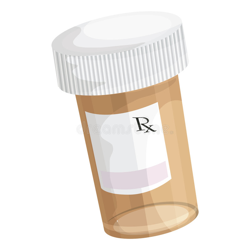 Pill Bottle. Illustration of a brown pill bottle with a white cam and RX on the label vector illustration