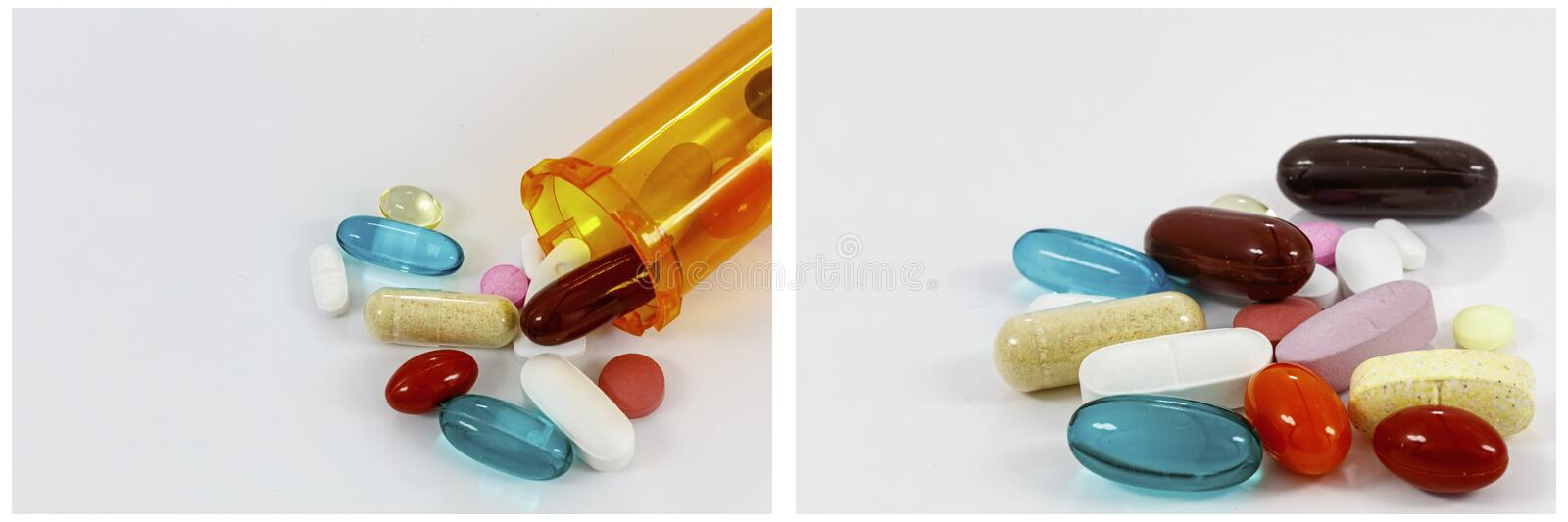Pill bottle drugs spilled narcotics supplements collage royalty free stock photo