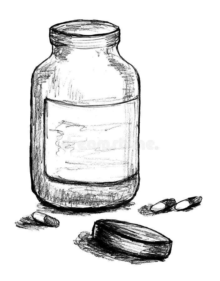 Pill Bottle Illustration royalty free illustration