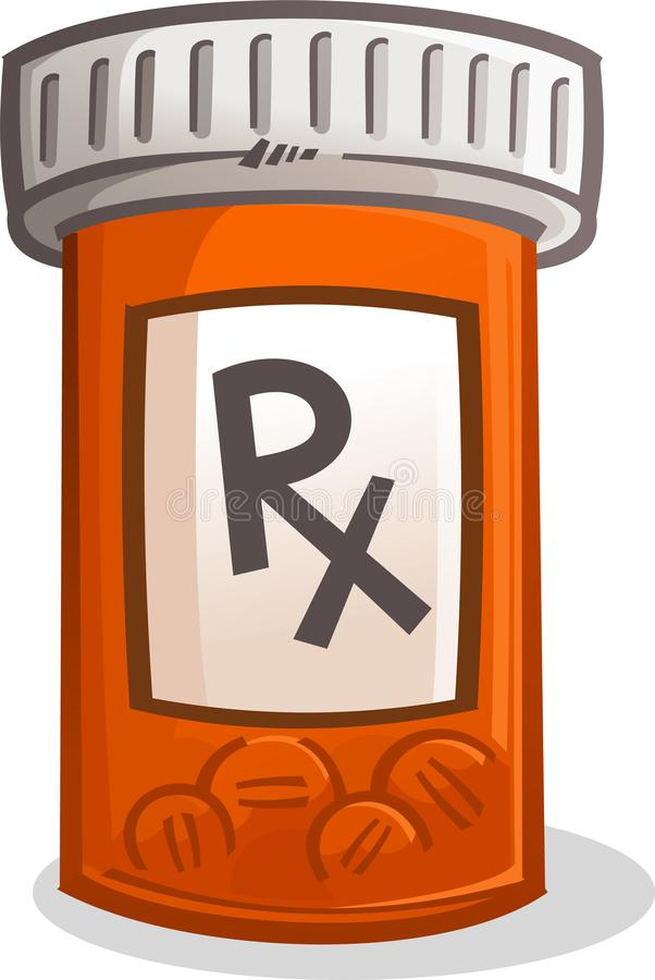 Pill Bottle Illustration. A plastic orange pill bottle full of caplets with a large RX on the label stock illustration