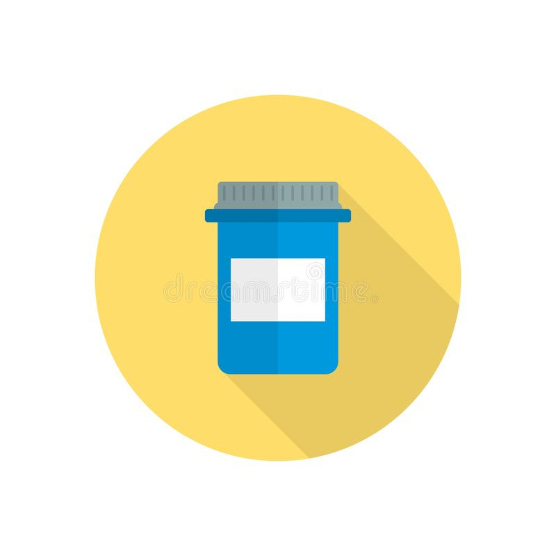 Pill bottle with various pills and capsules stock illustration