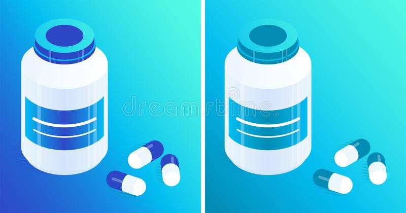 Pill bottles and pills. Pill bottles and capsules of blue and turquoise. Isometric vector icons. Gradient background. Design element for medical illustrations vector illustration