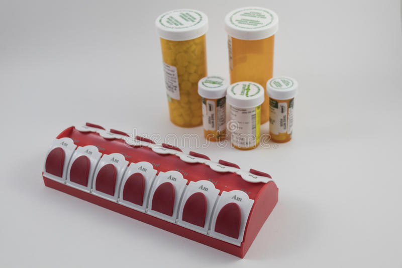 Pill bottles and storage. For drugs royalty free stock photography