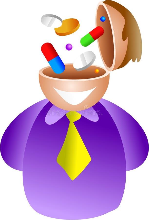 Pill brain royalty free illustration