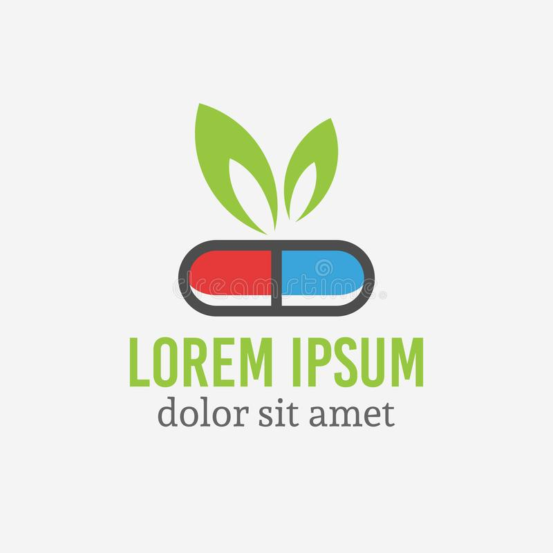 Pill capsule with green leaf, pharmacology logo royalty free illustration