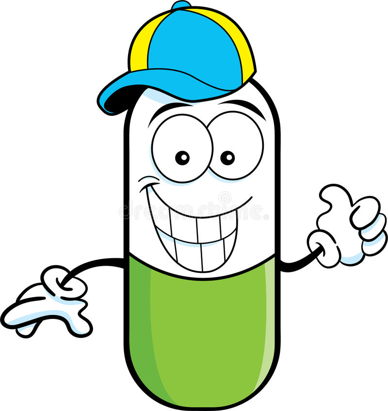 Pill capsule wearing a baseball cap. Cartoon illustration of a pill capsule giving thumbs up and wearing a baseball cap vector illustration