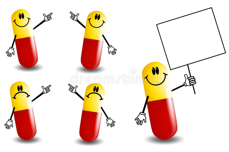 Pill Capsules Cartoon Characters. An illustration featuring your choice of 5 cartoonish pill capsule or vitamin characters in various poses and moods - pointing stock illustration