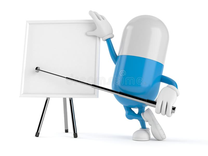 Pill character with blank whiteboard. Isolated on white background. 3d illustration royalty free illustration
