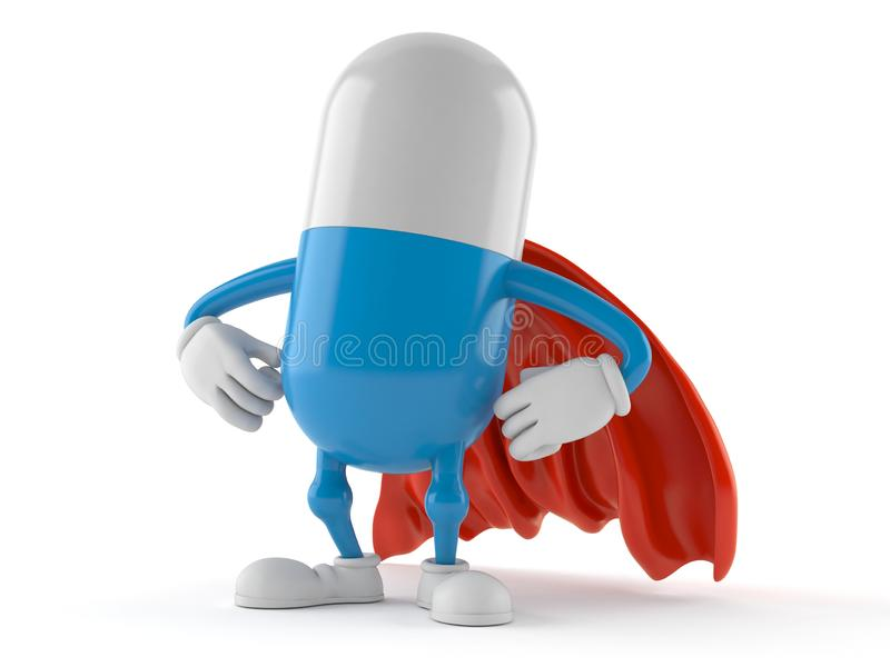 Pill character with hero cape. Isolated on white background. 3d illustration vector illustration