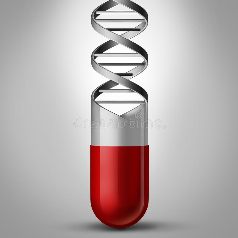 Pill DNA. As a gene therapy and genetic medicine concept as a prescription medication shaped as a double helix as a chromosome science symbol and genome vector illustration