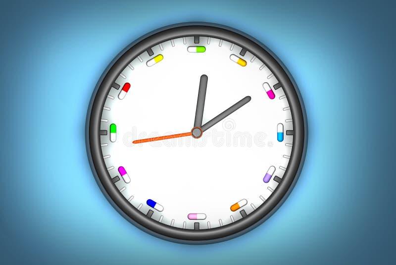 pill för klocka o royaltyfri illustrationer