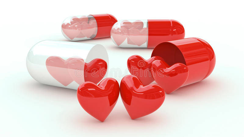 Pill filled with hearts vector illustration