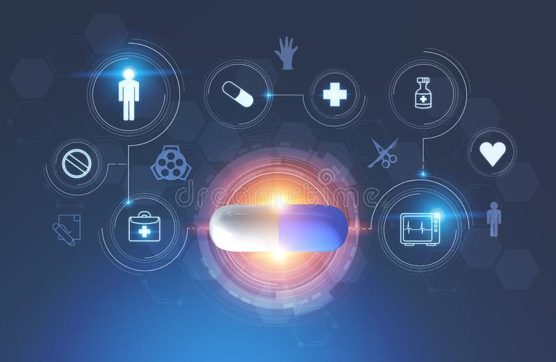 Pill in hud, medical icons. Blue and white pill inside hud surrounded by medical icons over dark blue background. Concept of hi tech in medicine. 3d rendering stock illustration