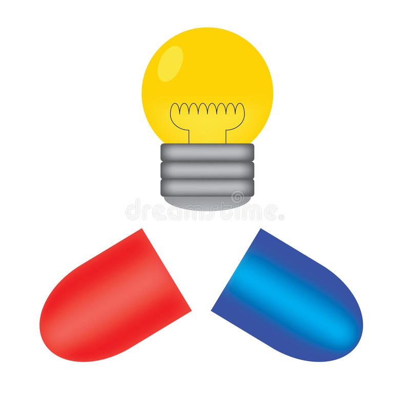 Pill and light bulb royalty free stock images