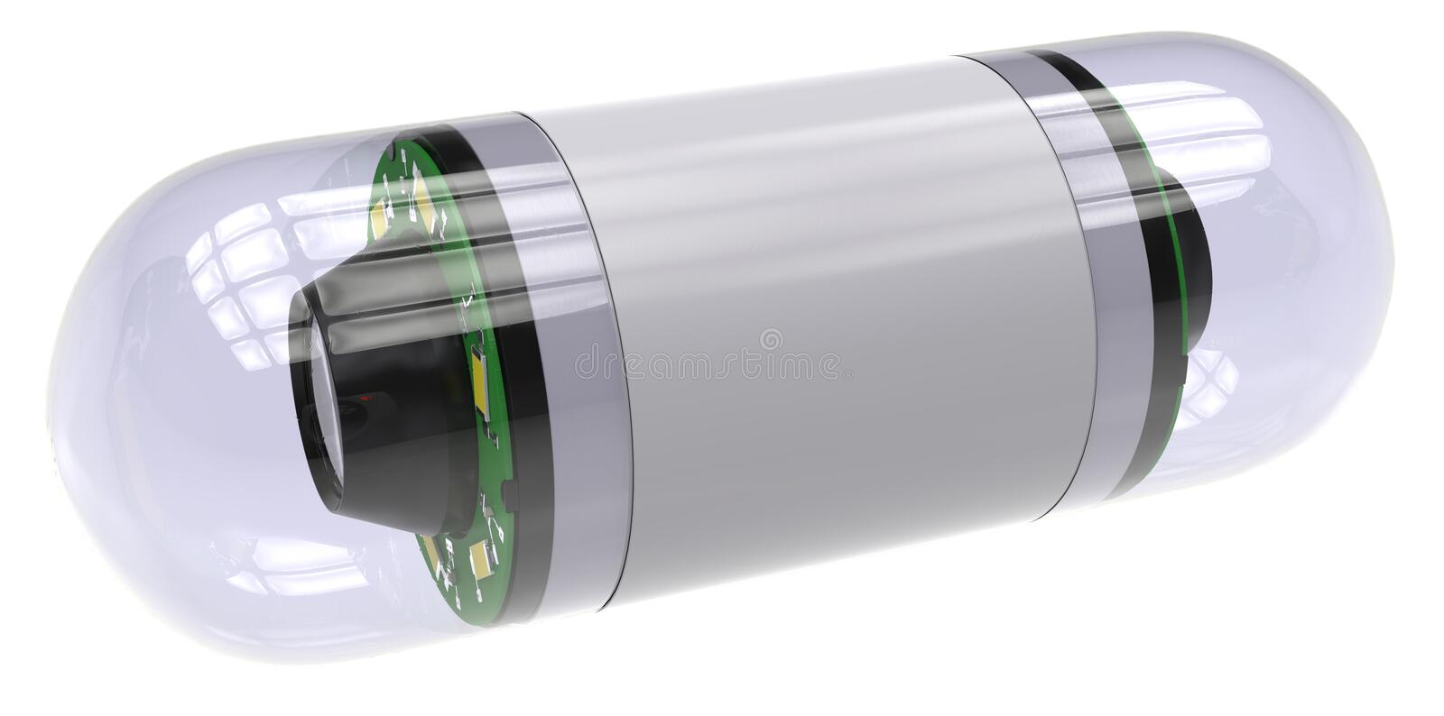 Pill-sized camera for capsule endoscopy. Isolated on white vector illustration