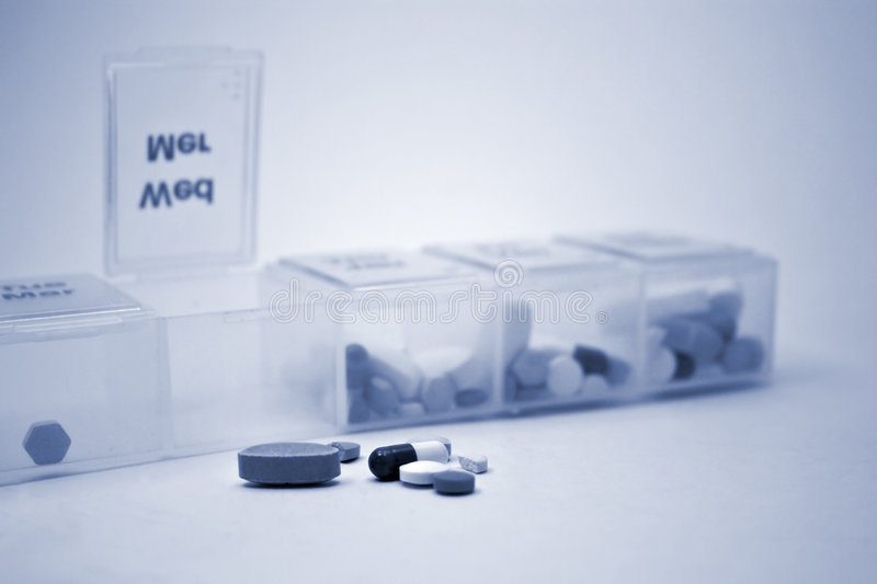 Pill Sorter Blue royalty free stock images