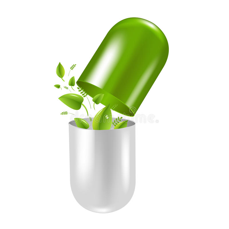 Pill Wit Leaf royalty free illustration