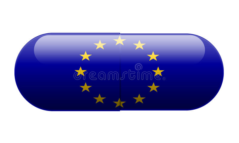Pill wrapped in a EU Flag stock image