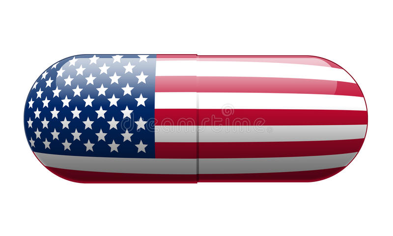 Pill wrapped in a US Flag royalty free stock images