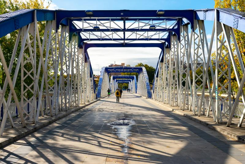 Pillar Bridge or Iron Bridge (Puente de Hierro) in Zaragoza, Spain royalty free stock photography
